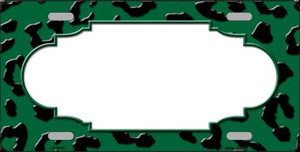Green Black Cheetah Print With Scallop Wholesale Metal Novelty License Plate LP-4546