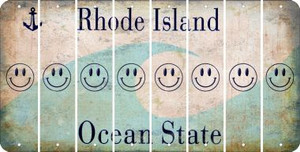 Rhode Island SMILEY FACE Cut License Plate Strips (Set of 8) LPS-RI1-089