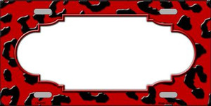 Red Black Cheetah Print With Scallop Wholesale Metal Novelty License Plate LP-4550