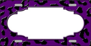 Purple Black Cheetah Print With Scallop Wholesale Metal Novelty License Plate LP-4552