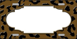 Brown Black Cheetah Print With Scallop Wholesale Metal Novelty License Plate LP-4553