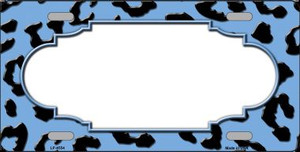 Light Blue Black Cheetah Print With Scallop Wholesale Metal Novelty License Plate LP-4554