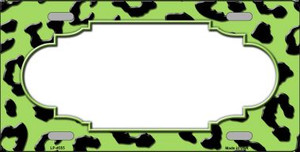 Lime Green Black Cheetah Print With Scallop Wholesale Metal Novelty License Plate LP-4555