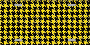 Yellow Black Houndstooth Wholesale Metal Novelty License Plate LP-4563