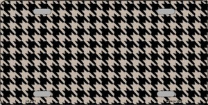 Tan Black Houndstooth Wholesale Metal Novelty License Plate LP-4571