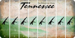 Tennessee SUBMACHINE GUN Cut License Plate Strips (Set of 8) LPS-TN1-055
