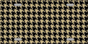 Gold Black Houndstooth Wholesale Metal Novelty License Plate LP-4572