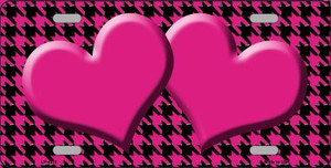 Pink Black Houndstooth With Pink Center Hearts Wholesale Metal Novelty License Plate LP-4574
