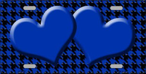 Blue Black Houndstooth With Blue Center Hearts Wholesale Metal Novelty License Plate LP-4576