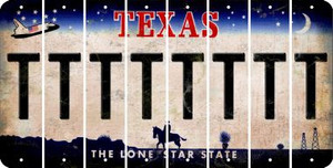 Texas T Cut License Plate Strips (Set of 8) LPS-TX1-020