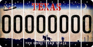 Texas 0 Cut License Plate Strips (Set of 8) LPS-TX1-027