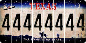 Texas 4 Cut License Plate Strips (Set of 8) LPS-TX1-031