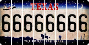 Texas 6 Cut License Plate Strips (Set of 8) LPS-TX1-033