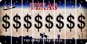 Texas DOLLAR SIGN Cut License Plate Strips (Set of 8) LPS-TX1-040