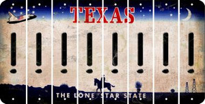 Texas EXCLAMATION POINT Cut License Plate Strips (Set of 8) LPS-TX1-041