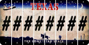 Texas HASHTAG Cut License Plate Strips (Set of 8) LPS-TX1-043
