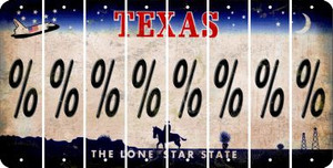 Texas PERCENT SIGN Cut License Plate Strips (Set of 8) LPS-TX1-046