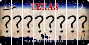 Texas QUESTION MARK Cut License Plate Strips (Set of 8) LPS-TX1-047
