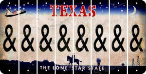 Texas AMPERSAND Cut License Plate Strips (Set of 8) LPS-TX1-049