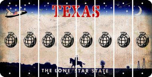 Texas HAND GRENADE Cut License Plate Strips (Set of 8) LPS-TX1-050