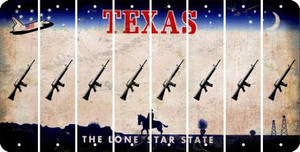 Texas M16 RIFLE Cut License Plate Strips (Set of 8) LPS-TX1-052