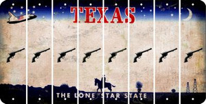 Texas PISTOL Cut License Plate Strips (Set of 8) LPS-TX1-053