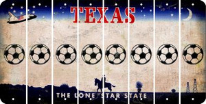 Texas SOCCERBALL Cut License Plate Strips (Set of 8) LPS-TX1-061