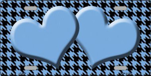 Light Blue Black Houndstooth With Light Blue Center Hearts Wholesale Metal Novelty License Plate LP-4583