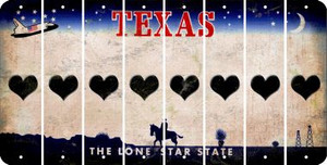 Texas HEART Cut License Plate Strips (Set of 8) LPS-TX1-081