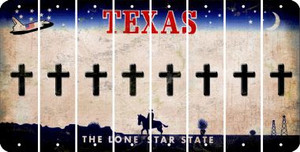 Texas CROSS Cut License Plate Strips (Set of 8) LPS-TX1-083