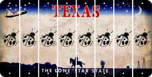 Texas LADYBUG Cut License Plate Strips (Set of 8) LPS-TX1-087