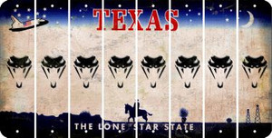 Texas SNAKE Cut License Plate Strips (Set of 8) LPS-TX1-088
