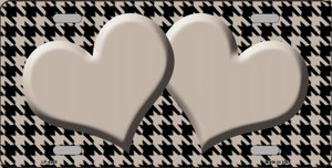 Tan Black Houndstooth With Tan Center Hearts Wholesale Metal Novelty License Plate LP-4585