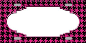 Pink Black Houndstooth With Scallop Center Wholesale Metal Novelty License Plate LP-4589