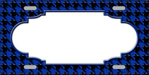 Blue Black Houndstooth With Scallop Center Wholesale Metal Novelty License Plate LP-4591