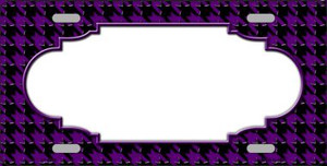 Purple Black Houndstooth With Scallop Center Wholesale Metal Novelty License Plate LP-4596