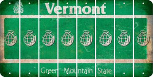 Vermont HAND GRENADE Cut License Plate Strips (Set of 8) LPS-VT1-050