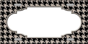 Tan Black Houndstooth With Scallop Center Wholesale Metal Novelty License Plate LP-4600