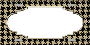 Gold Black Houndstooth With Scallop Center Wholesale Metal Novelty License Plate LP-4601
