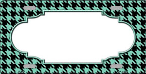 Mint Black Houndstooth With Scallop Center Wholesale Metal Novelty License Plate LP-4602