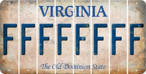 Virginia F Cut License Plate Strips (Set of 8) LPS-VA1-006