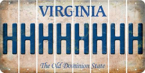 Virginia H Cut License Plate Strips (Set of 8) LPS-VA1-008