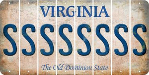 Virginia S Cut License Plate Strips (Set of 8) LPS-VA1-019