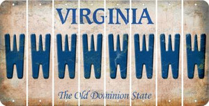 Virginia W Cut License Plate Strips (Set of 8) LPS-VA1-023