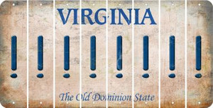 Virginia EXCLAMATION POINT Cut License Plate Strips (Set of 8) LPS-VA1-041
