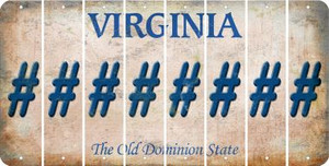 Virginia HASHTAG Cut License Plate Strips (Set of 8) LPS-VA1-043