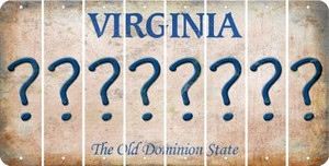 Virginia QUESTION MARK Cut License Plate Strips (Set of 8) LPS-VA1-047