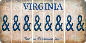 Virginia AMPERSAND Cut License Plate Strips (Set of 8) LPS-VA1-049