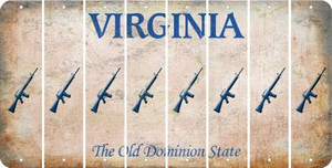 Virginia M16 RIFLE Cut License Plate Strips (Set of 8) LPS-VA1-052