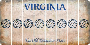 Virginia VOLLEYBALL Cut License Plate Strips (Set of 8) LPS-VA1-065